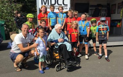John b attends a cyclist race at Paignton Velodrome on 18th August